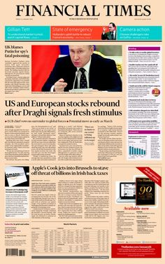 """""""FT: US and Euro stocks rebound as Draghi signals fresh stimulus Financial Times, Rebounding, January 2016, Euro, Friday, Fresh"""