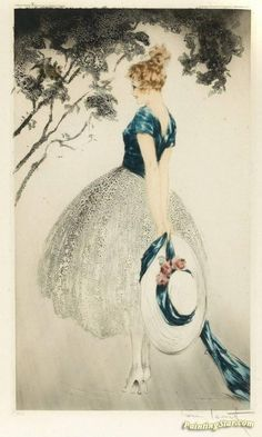 In The Nest Artwork by Louis Icart Hand-painted and Art Prints on canvas for sale,you can custom the size and frame