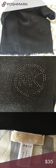 Michael Kors Pin Dot Logo Scarf Michael Kors Pin Dot Logo Scarf in multidimensional black on black. Logo is on bottom corner. 7 feet long, 2 feet wide. Can be worn so many ways around neck or as a wrap. Fabric blend is shiny and soft. Brand new, came from Belks Department Store. Gift from mother n law. Just not my style. NWOT. Michael Kors Accessories Scarves & Wraps