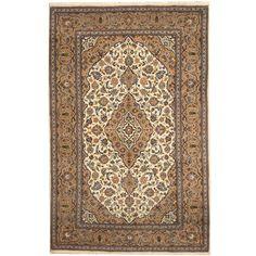 Herat Oriental Persian Hand-knotted Kashan Wool Area Rug (6'8 x 10') (Handmade Persian Kashan Wool Rug), Blue, Size 6'8 x 10' (Natural Fiber, Floral)