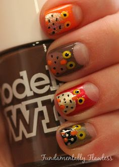 Fundamentally Flawless: Owl  #nail #nails #nailart possibly the cutest thing I have ever seen for fall