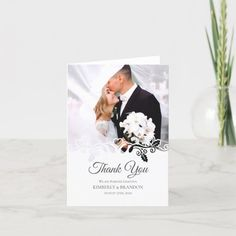 Simple white Frame Photo Wedding Thank You Card