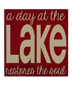 Take a look at this Red & Cream A Day at the Lake Wall Art by Vinyl Crafts on #zulily today!