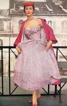 Anne Gunn wearing Dior's circa 1953 Rose printed chiffon dress with rose petal pink silk coat