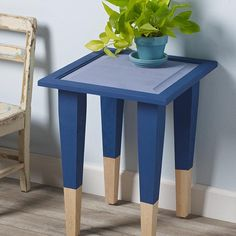 Use FolkArt Milk Paint to transform a wooden side table into a two-toned accent piece. #upcycle #diydecor #diyfurniture #milkpaint #homedecor #paintedfurniture
