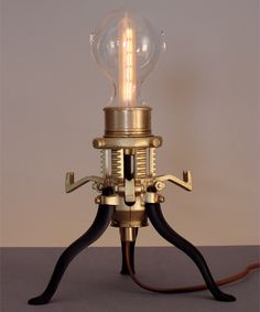 Steampunk Lamp   Steampunk Lamp      One of a kind lamp created from solid cast brass and glass. [link]