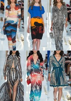 Diane Von Furstenburg S/S 2014-Tribal References – Linear Patter – Gradient In-fill Pattern – African Animals - Light Distortion – Graphic Pattern
