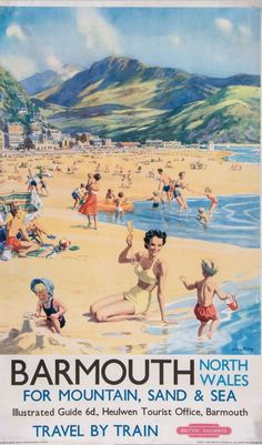Barmouth, England - Beach Scene Mother and Kids British Rail Poster Travel Art Print - 46 x 61 cm Posters Uk, Train Posters, Railway Posters, British Travel, British Seaside, Vintage Travel Posters, Vintage Ads, England Beaches, By Train
