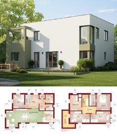 Einfamilienhaus Neubau Modern Im Bauhausstil Mit Flachdach Architektur U0026  Erker Anbau   Haus Bauen Grundriss Fertighaus