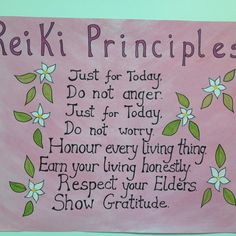 Reiki Principles put together by Aoife Nelson