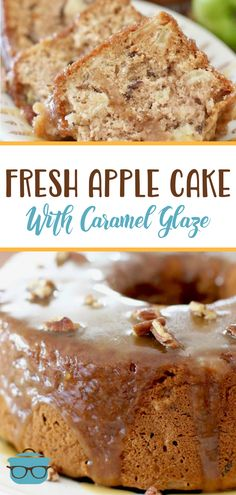Homemade Fresh Apple Cake with Caramel Glaze is the perfect fall cake and a great way to use those fresh apples! Apple Dessert Recipes, Homemade Desserts, Easy Cake Recipes, Apple Recipes, Easy Desserts, Fall Recipes, Fresh Apple Cake, Fresh Apples, Cupcake Cakes
