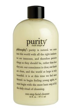 Philosophy 'purity made simple' takes makeup off and cleanses skin in one step!