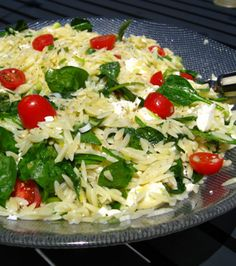 Orzo Summer Salad... just add green onions, tomatoes, baby spinach and feta cheese (and oil and vinegar -or lemon- of course, salt and pepper)