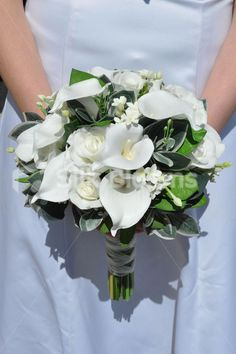 Rustic Artificial White Calla Lily and Fresh Touch Rose Bridal Wedding Bouquet #white #artificial #silk #wedding #flowers
