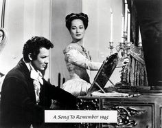 A Song to Remember 1945 Directed by Charles Vidor, the film starred Cornel Wilde (as Chopin), Merle Oberon (as George Sand), Paul Muni (as Józef Elsner), Stephen Bekassy (as Franz Liszt), and Nina Foch. Description from snipview.com. I searched for this on bing.com/images