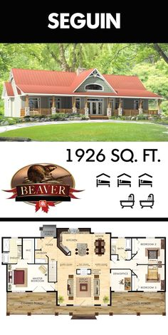360 degree curb appeal The most unique feature of the Beaver Homes and Cottages Seguin model is its versatility of showing either side as the front of the house depending. New House Plans, Dream House Plans, House Floor Plans, My Dream Home, Unique House Plans, Simple Floor Plans, Retirement House Plans, Ranch Style Floor Plans, Barn Style House Plans