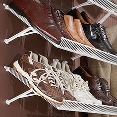 Shoe Shelf Bracket and Tight Mesh Shelving; Flip 12 Inch Tight Mesh Wire Shelves upside down and use the Angled Shoe Shelf Bracket to create shoe shelves. These brackets work with any size Tight Mesh Shelf.