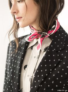 silk scarf, print button down shirt, dotted blazer // Garance Doré
