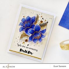 Altenew: Garden Treasure, watercolored, gold embossed, bg:  Morning Frost  mainly w/ Evening Gray Crisp Ink on the edges, gold  Glitter Tape, flower sketch, by @pr0digy0