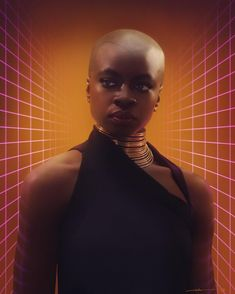 [Caption: A realistic digital painting of Okoye from Black Panther. Portrait is from the waist up. Okoye is wearing a black halter dress with an asymmetrical collar, golden neck rings, gold stud earrings, and deep cabernet lipstick. Her shaved head is adorned with geometric tattoos. The background is soft golden-brown with two receding glowing pink grid patterns on either side of her.] #blackpanther #okoye #danaigurira #digitalart #digitalpainting