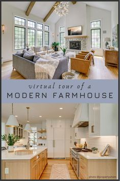 Modern Farmhouses are all the rage. Here is a custom modern farmhouse virtual tour to give you an inside look at designs, styles, and ideas for your new house or remodeling project. Maybe you're just DIY a room or two? So many pictures of this awesome hou Modern Farmhouse Bathroom, Modern Bathroom Design, Timeless Kitchen, Kitchen Floor Plans, Open Concept Kitchen, Diy House Projects, Building A New Home, Traditional Kitchen, Kitchen Living