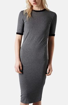 Topshop Rib Knit Trim Midi Dress available at #Nordstrom