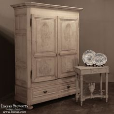 Antique Furniture | Antique Armoires | Country French Armoires | 19th Century Rustic Dutch Chinoiserie Style Armoire | www.inessa.com Antique Interior, Antique Furniture, Home Furniture, Antique Buyers, Chinoiserie, Vintage Armoire, French Decor, Closet Storage, Entertainment Center