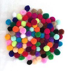Pom Pom Mix Color 100 pieces 1 inch pom pom garland purse