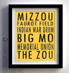 University of Missouri Tigers Subway Scroll- We are so doing this for the basement @Courtney Stoddard!!
