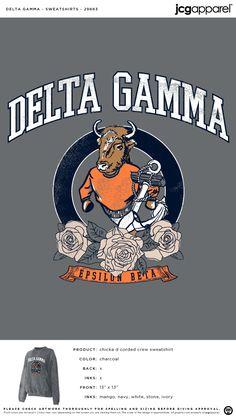Delta Gamma Sweatshirt | Sorority Sweatshirt | Greek Sweatshirt #deltagamma #deegee #dg #Sweatshirt #classic #design Delta Gamma, Fall Designs, Custom Design Shirts, Sorority And Fraternity, Autumn Theme, Crew Sweatshirts, Screen Printing, Artwork, Prints