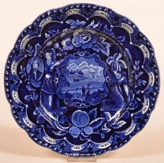 "Historic Blue Staffordshire ""States"" Plate"