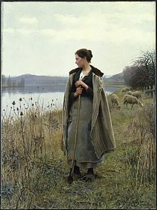 The Shepherdess of Rolleboise  Daniel Ridgway Knight (15 March 1839 – 9 March 1924) was an American artist born at Chambersburg, Pennsylvania. He was a pupil at the École des Beaux-Arts, Paris, under Gleyre, and later worked in the private studio of Meissonier. After 1872 he lived in France, having a house and studio at Poissy on the Seine.  He painted peasant women out of doors with great popular success