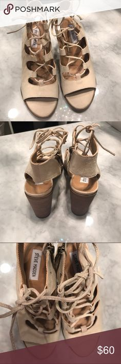 """Steve Madden Nilunda Sand Sandal Size 8 Half moon cutouts and corset-inspired sandal lifted by a chunky stacked heel 🌙🔥. 3 1/4""""heel. Suede. Amazingly comfortable shoe! Never worn. Perfect condition! Steve Madden Shoes Sandals"""