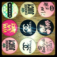 Juicy, Coach and Channel Pinbacks Pinback buttons or flatbacks your pick Coach Accessories