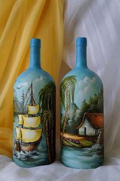 1 million+ Stunning Free Images to Use Anywhere Glass Bottle Crafts, Wine Bottle Art, Painted Wine Bottles, Lighted Wine Bottles, Diy Bottle, Painted Wine Glasses, Bottles And Jars, Glass Bottles, Vintage Bottles