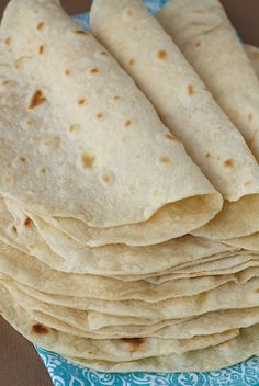 Homemade Flour Tortillas, so easy, SO good! 3 cups flour, 1 tsp. salt, 1 tsp. baking powder, 1/3 c. vegetable oil, 1 c. warm water.
