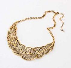 Vintage Leaf Collar Necklace
