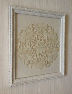 Framed Doily Hand Painted Distressed Vintage Framed White Rose Doily OOAK by uniquejewelrybynan, $85.00