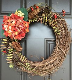 Fall wreath or Winter wreath with red Hydrangea and berries; transitional wreath; monogram wreath