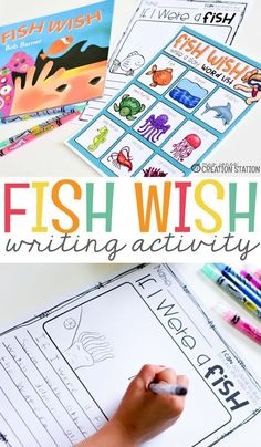 Bring balanced literacy to your classroom using this fun book and a great writing activity! Wonderful Fish Wish story and a free downloaded paper for children to write their own version of the story. #mjcs #fishwishwritingactivity #fishwishbook #writingactivity #fishwishwritingactivity #writingactivitiesforpreschoolers #writingactivitiesforkindergarten #mrsjonescreationstation