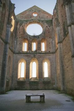 San Galgano Abbey; an outstanding roofless church located near the charming village of Chiusi, south west of Siena.