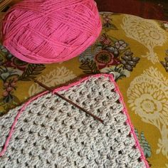 Pink delicate border happening tonight. #almostfinished #neverendingblanket #crochet #pinkgrey #crochetblanket by vintagemarketp