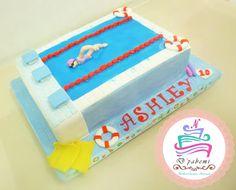 Torta piscina olímpica, todo en azúcar. Pool cake in zugar.