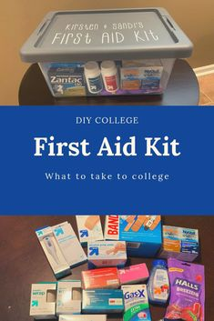 My daughter is leaving for college in a few weeks. I hate it that I won't be there when she gets sick or isn't feeling well. I put together a first aid kit with all the essentials so that she'll have what she needs close at hand. This first aid kit will First Aid Kit Checklist, College Checklist, College Packing, College Essentials, College Survival, College Necessities, College Hacks, Room Essentials, College Dorm Gifts