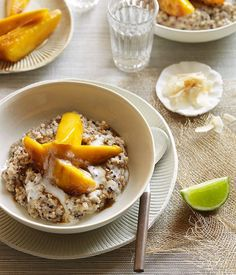 Sweet coconut quinoa with sticky mango recipe // quinoa, dates, vanilla extract, cinnamon, mango, sugar, coconut milk, lime