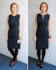 philip lim wrap dress - looks blue - blogger says black; kinda expensive, but really a timeless dress- sorry, but those shoes don't work with this - too chunky