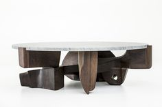 CASTE Harlow cocktail table, carrara marble and walnut