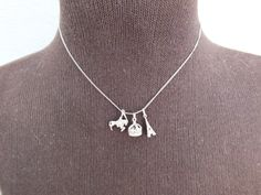 Charm Necklace Sterling Silver Choker Chain, 3 Charms Eiffel Tower, Horse, Crown, Vintage Precious Metal Jewelry Free Shipping and Gift Box by GiftShopVintage on Etsy