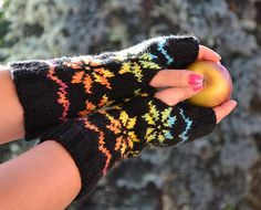 Knitted mittens gloves black and rainbow by DosiakStyle on Etsy