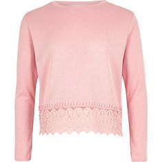 Girls bright pink crochet hem top